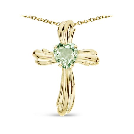 Star K Heart Shape 6mm Genuine Green Amethyst Ribbed Cross Of Love Pendant Necklace 14k Yellow Gold 14k Purple Cross