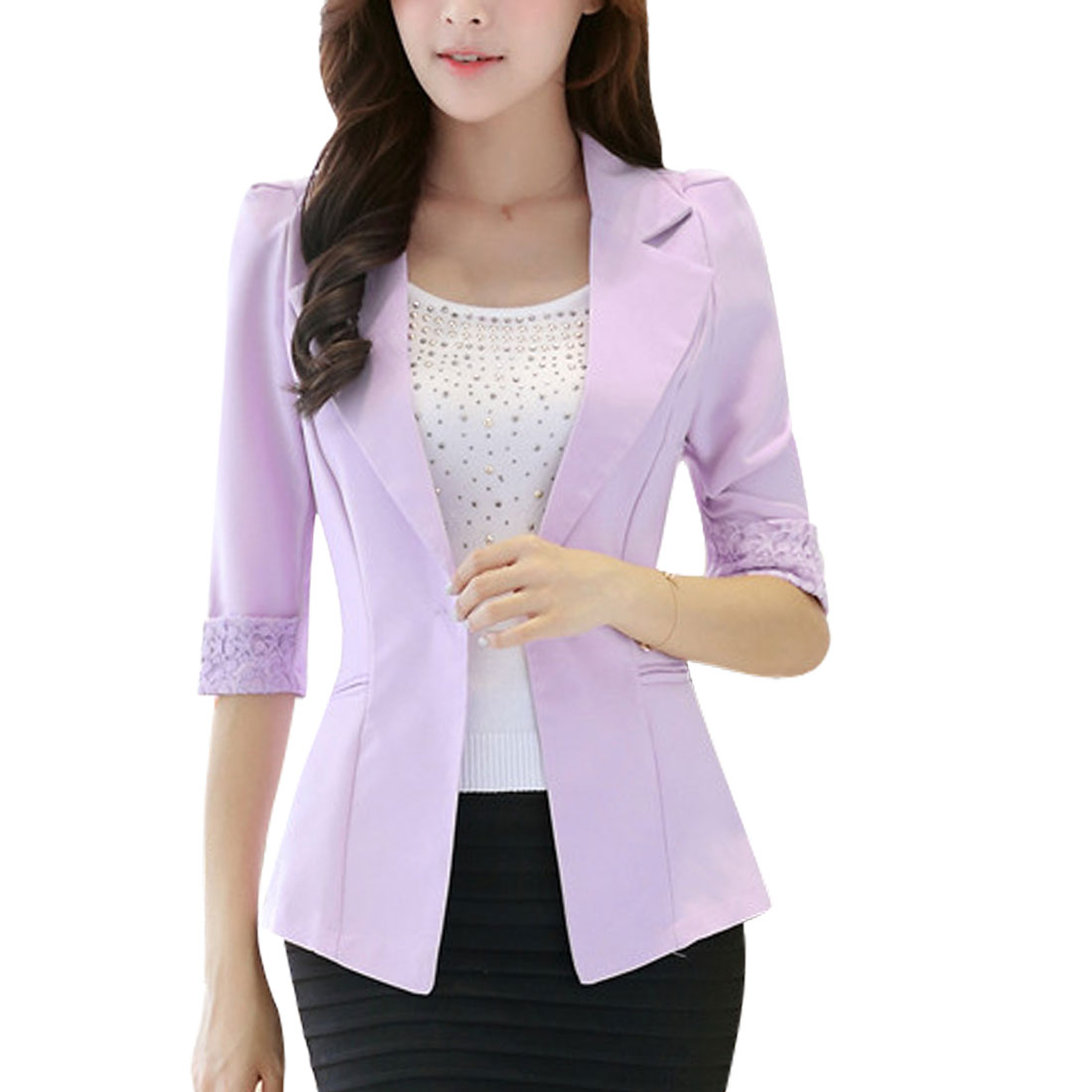 Women's 1/2 Sleeves Notched Lapel Lace Panel Purple Blazer Jacket (Size M / 8)