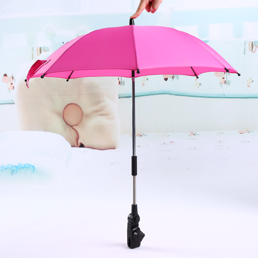 Pushchair Baby Stroller Umbrella and Holder UV Rays Rain Sun Canopy (Pink)