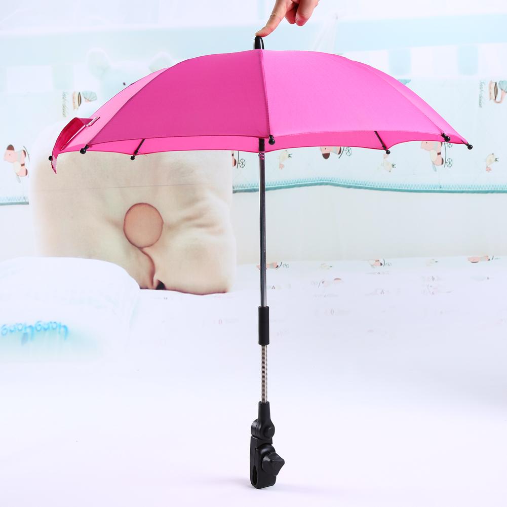 Pushchair Baby Stroller Umbrella and Holder UV Rays Rain Sun Canopy (Pink)
