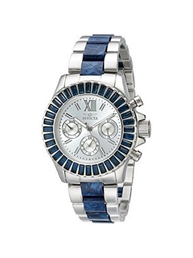 Invicta Women's Angel Multi-Function Ss And Blue Plastic Silver-Tone Dial Movement: Quartz