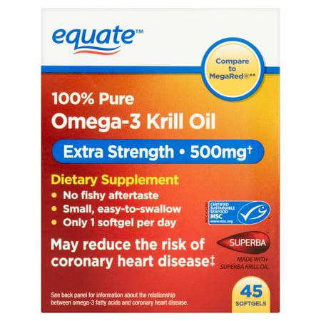 equate Omega-3 Huile de Krill alimentaires Supplément Gélules, 500mg, 45 count