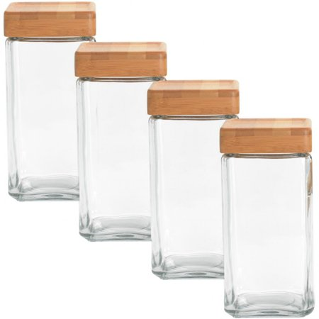 (Anchor Hocking 4 Pack, 2Qt Airtight Glass Jars Set With Bamboo Lids Stackable Food Storage Containers Saver)