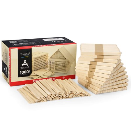 Magicfly Popsicle Sticks, 1000pcs, Natural Wooden Food Grade Craft Sticks, 4-1/2 Inch Great Bulk Ice Cream Sticks for Craft Project, Home Decoration - Popsicle Stick Creations