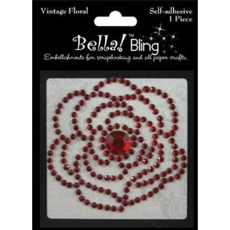 Red - Bling Self-Adhesive Rhinestone Vintage Floral