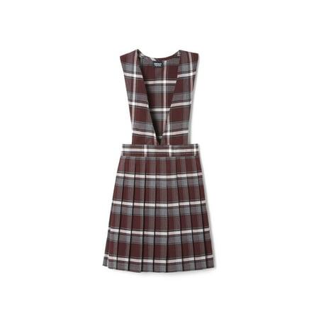 School Apparel Plaid Jumper - French Toast Girls Plus School Uniform Plaid V-Neck Pleated Jumper (Plus)