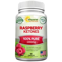aSquared Nutrition 100% Pure Raspberry Ketones 1000mg - 180 Capsules - All Natural Weight Loss Extract Supplement, Max Strength Appetite Suppressant Diet Pill to Boost Energy & Metabolism