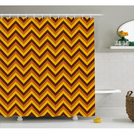 Yellow Chevron Shower Curtain Pattern With And Brown Lines Classical Retro Fabric