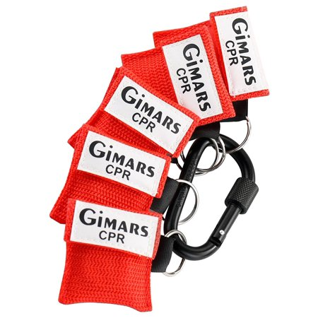 Gimars 5 Pcs Mini Rescue One Way Valve CPR Mask Keychain Face Shield Barrier Kit & D Ring Carabiner First Aid Easy to Carry for Car, Backpack, Purse, Keys, Glove box, Boat, Work and More