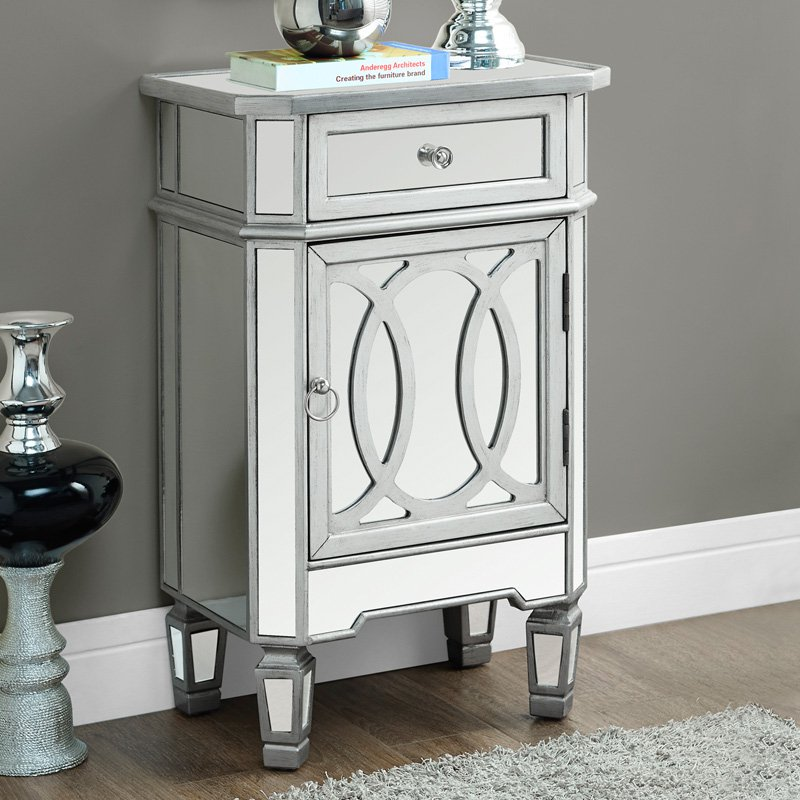 "Monarch Accent Table 29""H   Brushed Silver   Mirror by Monarch Specialties Inc"