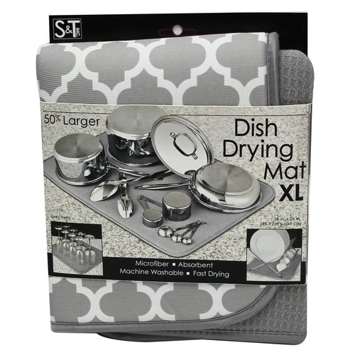 Schroeder & Tremayne XL Dish Drying Mat, Grey with White Trellis