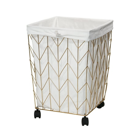 Mainstays Square Chevron Pattern Metal Hamper with Wheels, Gold and Natural ()