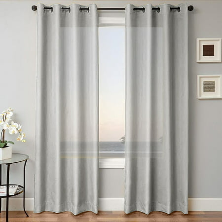 1 PANEL MIRA  SOLID SILVER GRAY  SEMI SHEER WINDOW FAUX SILK ANTIQUE BRONZE GROMMETS CURTAIN DRAPES 55 WIDE X 63