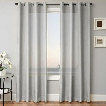 1 Panel Mira Solid Silver Gray Semi Sheer Window Faux Silk Antique Bronze Grommets Curtain