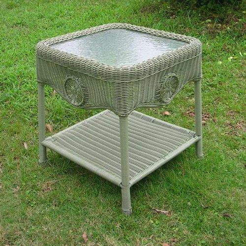 International Caravan Madison Wicker Resin Aluminum Patio Side Table with Glass by Intl. Caravan/Golden Needle