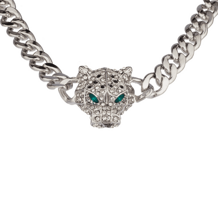 Pave Bling (Lux Accessories Pave Panther Chain Link Bling Necklace Matching Stud)