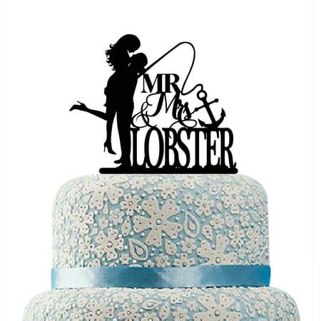 Buythrow Silhouette Wedding Cake Topper,Custom Mr and Mrs Cake ...