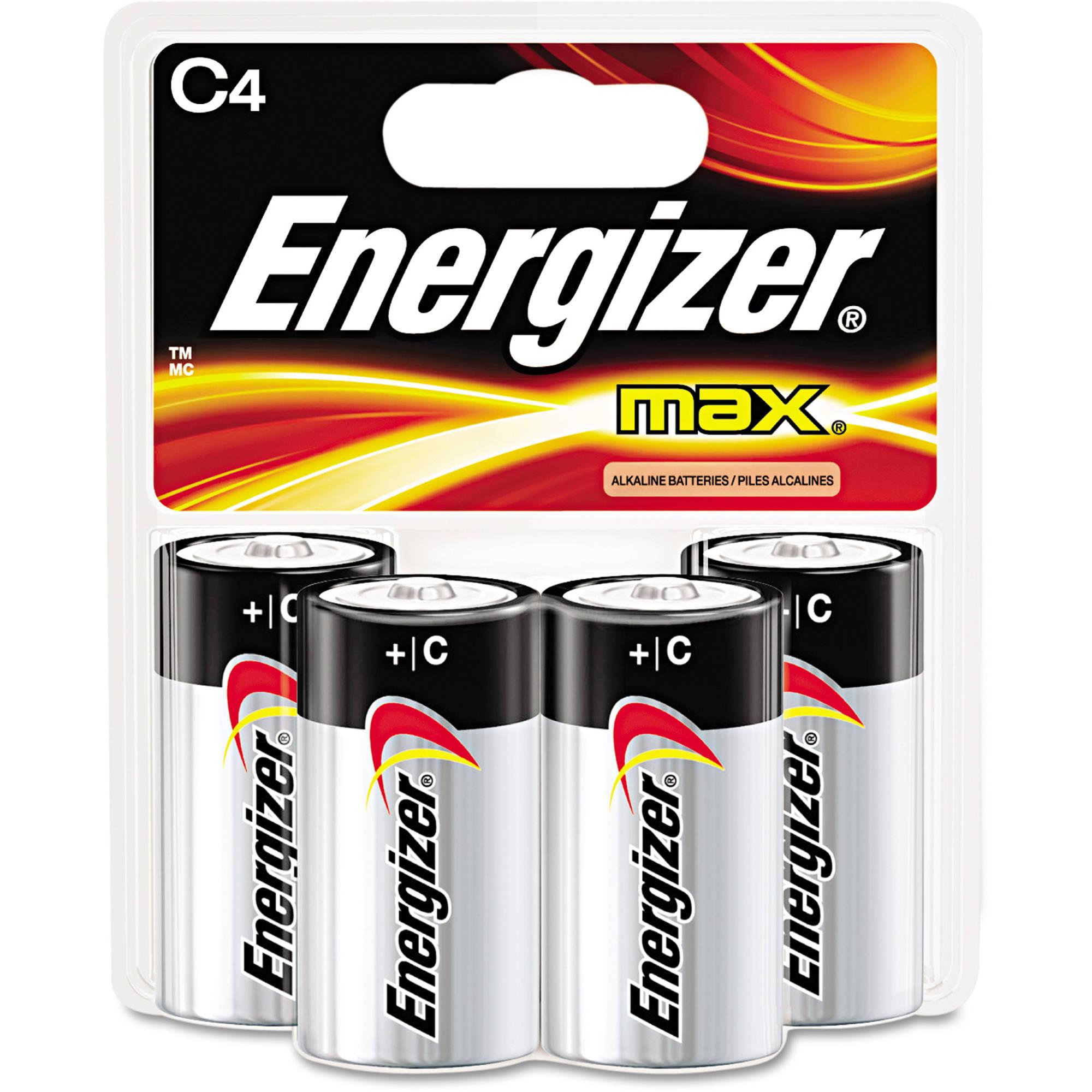 Energizer Max Alkaline Batteries C, 4 Pack