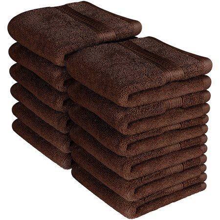 Premium 700 GSM Washcloths Towels Set 12 Pack, Dark Brown , 12 x 12 Inches Multi-purpose Extra Soft Fingertip Towels, Highly Absorbent Face Cloths, Machine Washable Sport, and Workout Towels