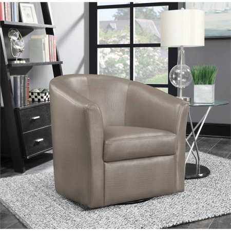 Terrific Coaster Faux Leather Upholstered Swivel Accent Chair In Champagne Ibusinesslaw Wood Chair Design Ideas Ibusinesslaworg