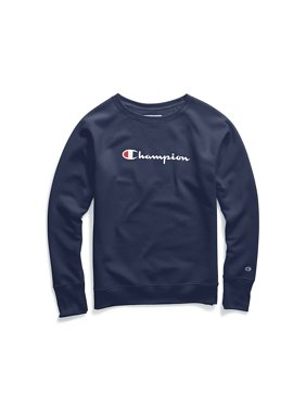 9f9e7a29 Product Image Champion Women's Powerblend® Fleece Boyfriend Crew, Script  Logo - W2956G Y07418