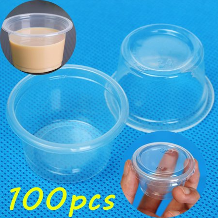 100pcs/Pack 1oz 30ml Cups with Lids Clear Plastic Cup Pudding Küche Essen Jelly Sauce Home Party](Jello Halloween Cups)