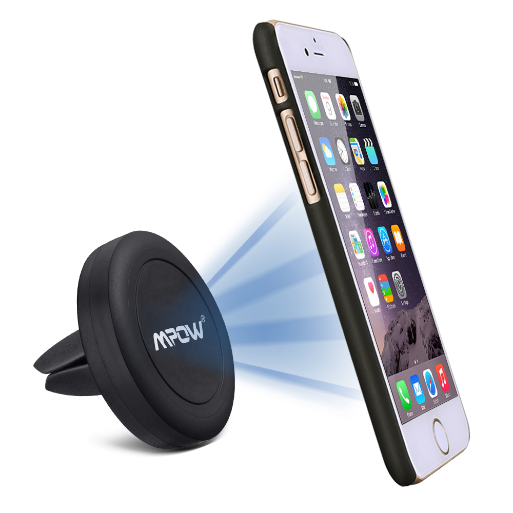 Mpow Grip Magic Air Vent One Step Mounting Magnetic Car Mount Holder for iPhone and Android Cellphones (1 Pack,Black)