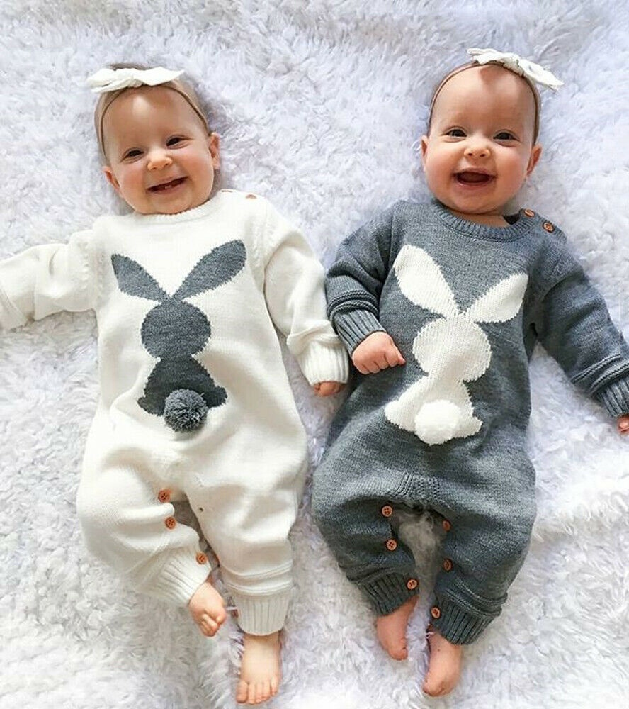 Newborn Baby Girls Boys Tops Romper Bunny Bobysuit Hat Outfits Clothes Tracksuit