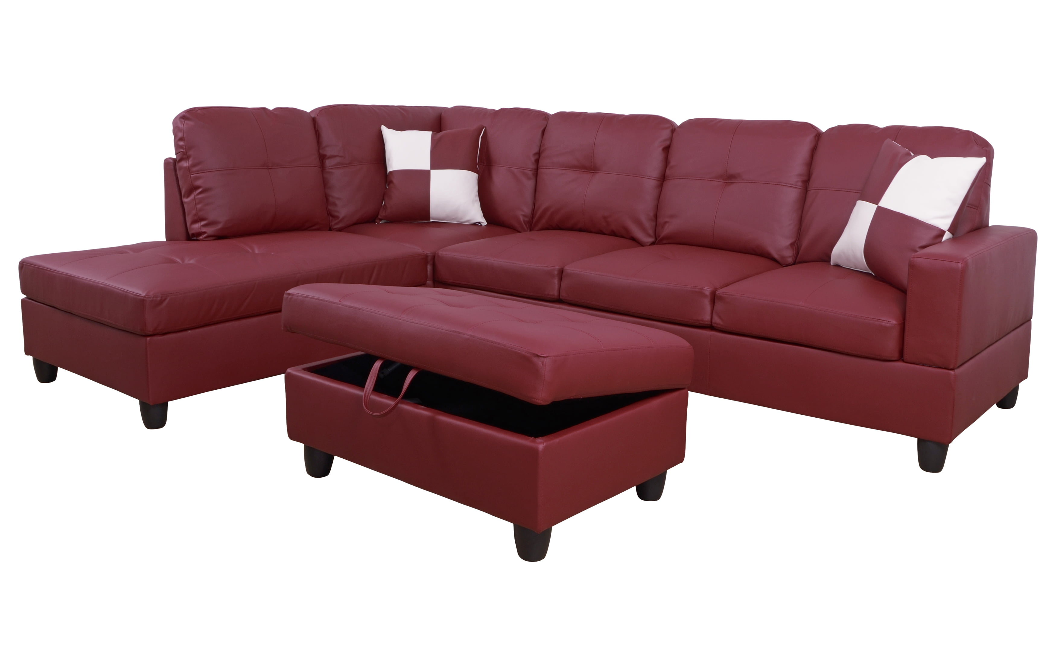 AYCP Furniture L-Shape Traditional Sectional Sofa Set with Ottoman, Left  Hand Facing Chaise, Faux Leather Upholstery Material, Red Color, More ...