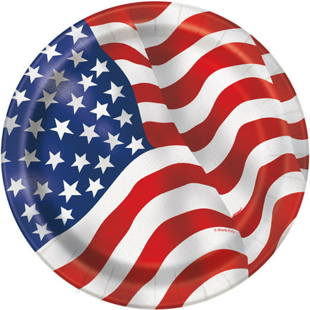 - US American Flag Paper Dinner Plates, 9in, 8ct