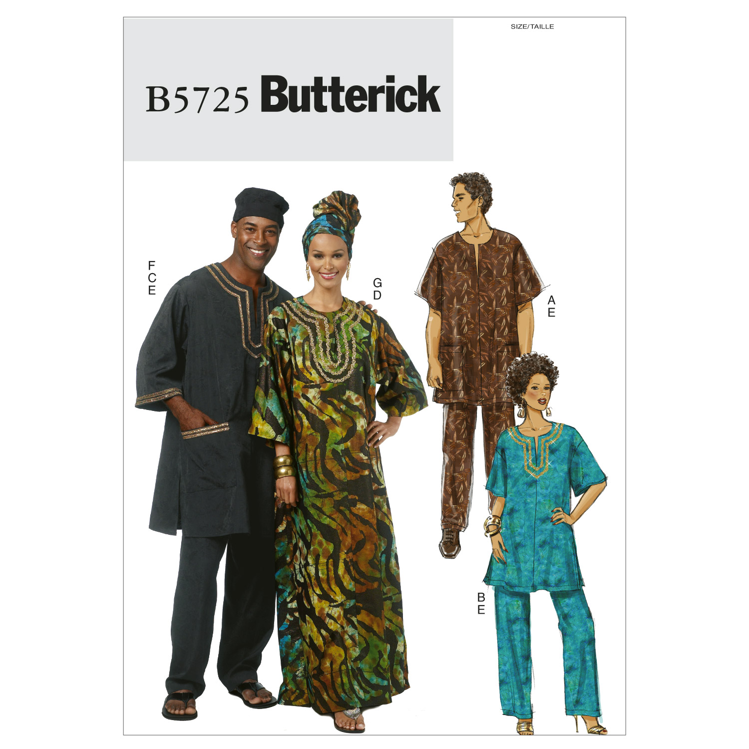 Misses'/Men's Tunic, Caftan, Pants, Hat and Head Wrap-XN (XLG-XXL-XXXL) -*SEWING PATTERN*