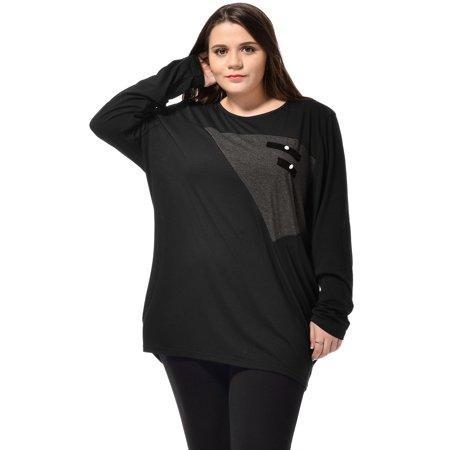- Women's Plus Size Scoop Neck Fake Pocket Embellished Tops Black (Size 18W)