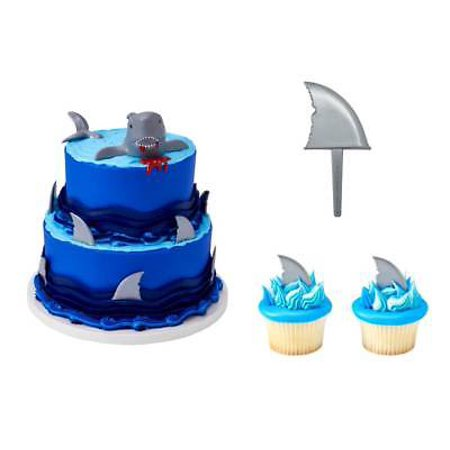 Shark Creations Cake Topper PLUS 24 Shark Cupcake Picks - National Cake Supply for $<!---->