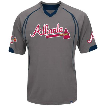 "Atlanta Braves Majestic MLB ""Lead Hitter"" V-Neck Fashion Jersey Charcoal by"