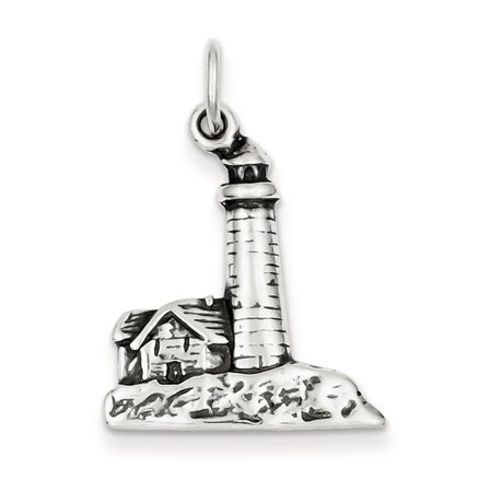 Sterling Silver Antiqued Lighthouse Charm