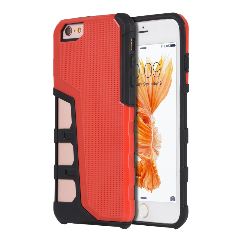 Luxmo Case for Phone Protectors for iPhone 6/6S Case Hyper Sport Dual Hybrid With Black Tpu+ Red Pc Back Plate