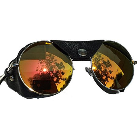 Road Vision Round Lens Motorcycle Sunglasses Steampunk Cycling (Chrome, Orange / Rose