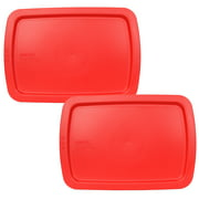 Pyrex Replacement Lid C-233-PC Red Rectangle Cover (2-Pack) for Pyrex Easy Grab C-233 3-Qt Glass Dish (Sold Separately)