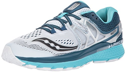 Saucony Women's Hurricane ISO 3 Running-Shoes, White Teal, 6.5 B(M) US by