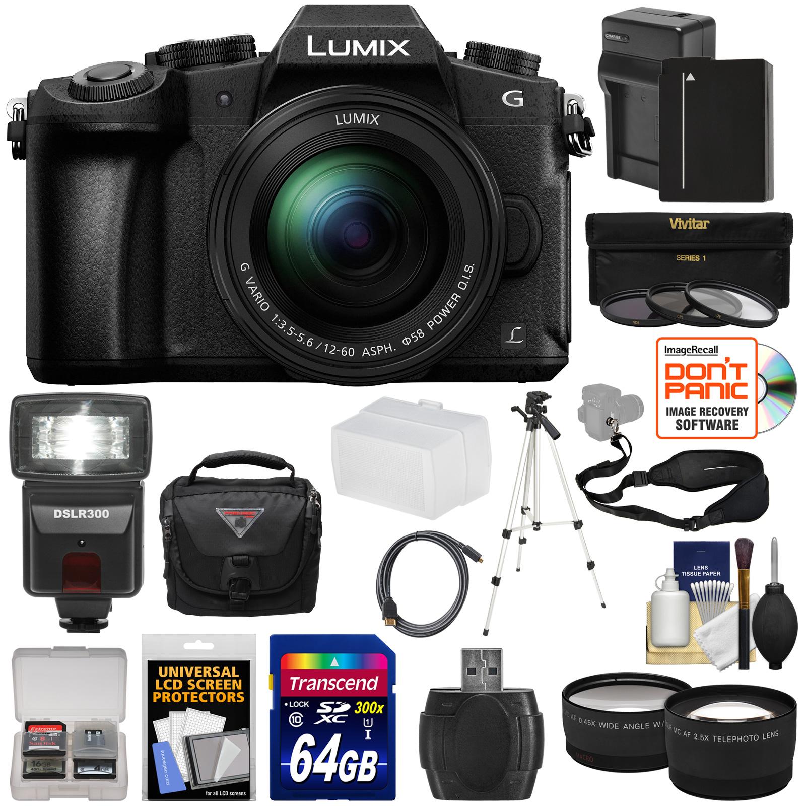 Panasonic Lumix DMC-G85 4K Wi-Fi Digital Camera & 12-60mm Lens with 64GB