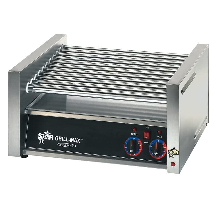 30C Grill-Max 30 Hot Dog Roller Grill with Chrome Rollers - Slanted by TableTop king