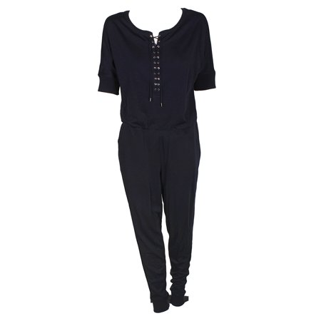 Lauren Ralph Lauren Navy Blue Lace-Up Jumpsuit L - Blue Jumpsuit