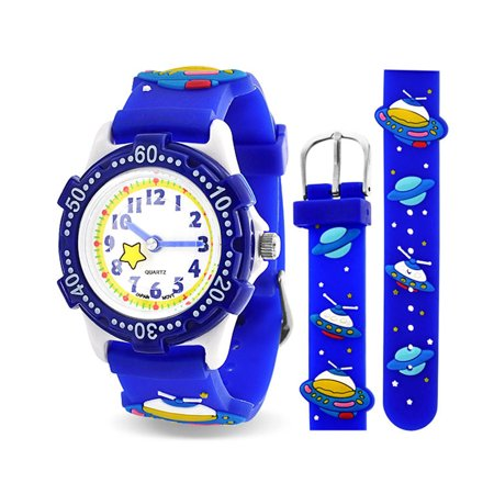 Quartz Ships - Astronaut Flying Saucer Space Ship Waterproof Wrist Watch Time Teacher Quartz Cartoon Blue Silicone Wristband Round Dial
