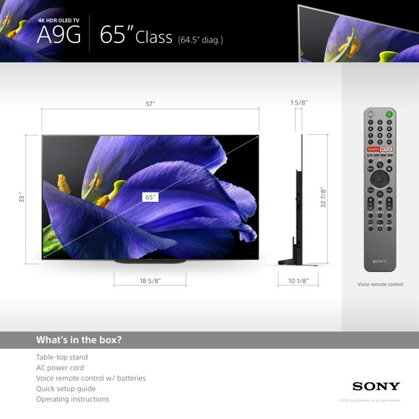 Sony 65″ Class 4K UHD OLED Android Smart TV HDR BRAVIA A9G Series XBR65A9G