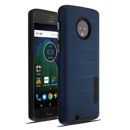 Motorola Moto G6 - Phone Case Shockproof Hybrid Rubber Rugged Case Cover Slim Dots Textured Ink Blue (Motorola G Cell Phone Cases)