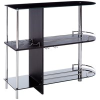 Axel White Metal Modern Bar Table With Glass Storage Shelves & Wine Rack