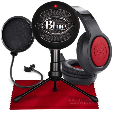 Blue Snowball iCE USB Cardioid Condenser Microphone (Black) with Studio Headphones & Pop Filter Deluxe Accessory
