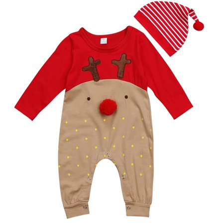 Babys Reindeer Christmas Outfits Long Sleeve Romper Jumpsuit With Stripes Hat 0-6 Months