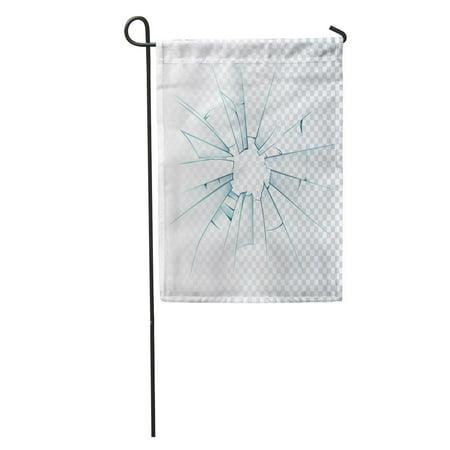 SIDONKU Crack Broken Frosted Window Pane Front Door Glass Realistic Daylight Garden Flag Decorative Flag House Banner 12x18