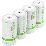 Discharge Nimh Battery - BAKTH Upgraded 10000mAh D Size High Performance NiMH Pre Charged Low Self Discharge Rechargeable Batteries for